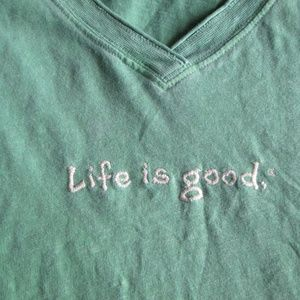 Life is Good green v-neck tee